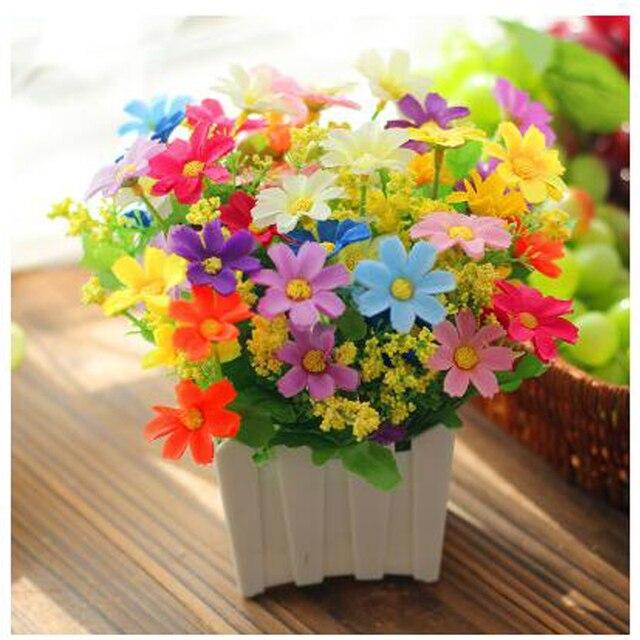 Artificial flowers with vase chrysanthemum silk flowers bonsai for artificial flowers with vase chrysanthemum silk flowers bonsai for home wedding decoration mightylinksfo