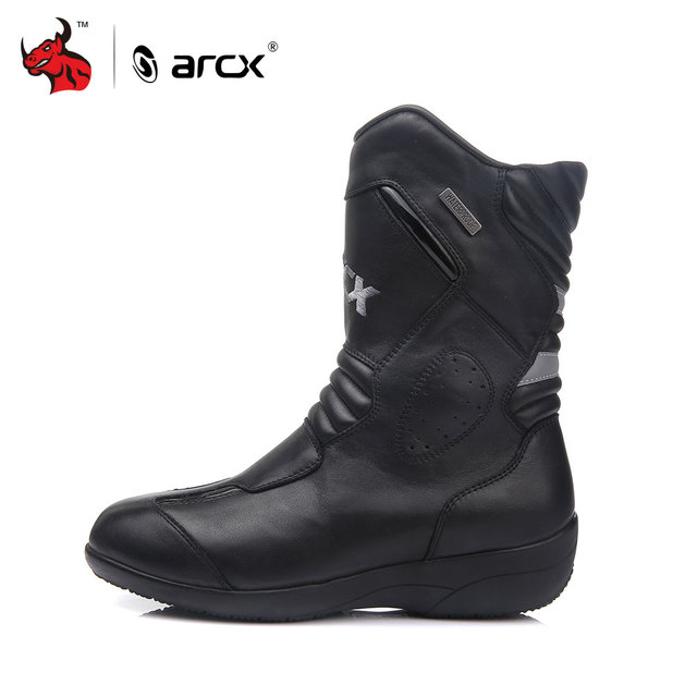ARCX Women Motorcycle Boots Genuine Cow Leather Moto Boots Waterproof Motorcross Boots Black Motorcycle Shoes 1