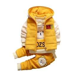 Рождественский осенний теплый жилет + толстовка + штаны для маленьких мальчиков и девочек, комплект из 3 предметов, детский спортивный костю...