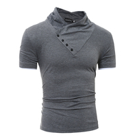 2017 new fashion wild men's oblique button collar t-shirt men's casual 4-color brand clothing T-shirt