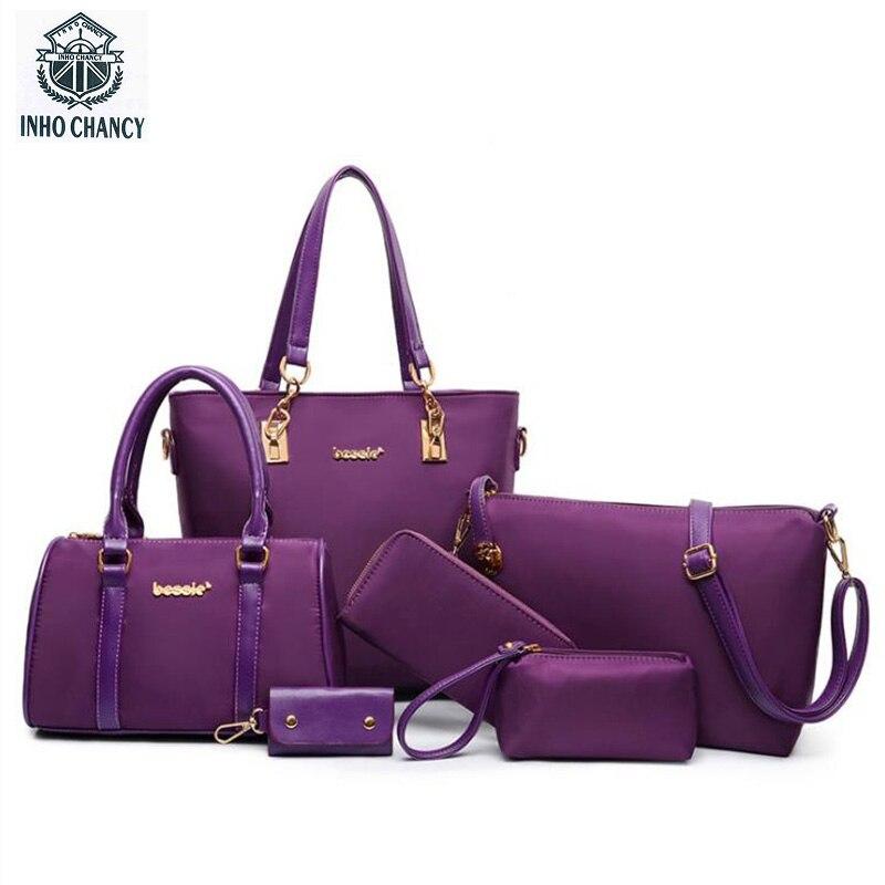 INHO CHANCY Fashion 6Pcs/Set Women Handbag Pure Color Waterproof Nylon Female Shoulder Crossbody Bag Purse Day Clutch Bolsa