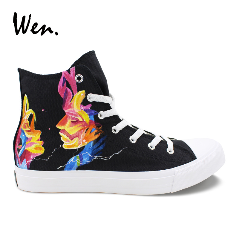 Wen Design Black Hand Painted Shoes MUSE  High Top Women Canvas Sneakers Men Athletic Shoes Skateboarding Sports Footwear