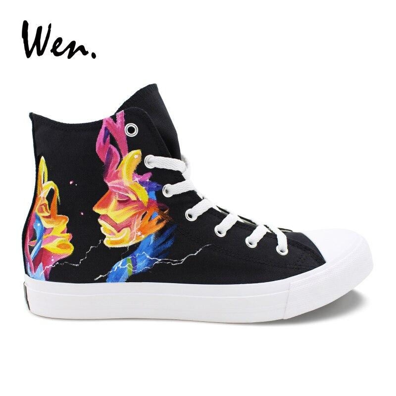 US $71.2 20% OFF|Wen projekt czarny ręcznie malowane buty MUSE wysokiej góry kobiet płócienne trampki męskie buty sportowe Skateboarding sportowe