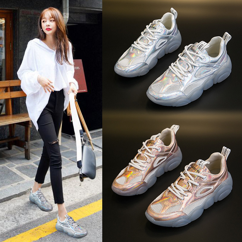 Koovan Women's Sneakers 2019 Spring Summer Sports Shoe White Shoes Colorful Wave Pattern Stitching Thick Bottom Women's Shoes
