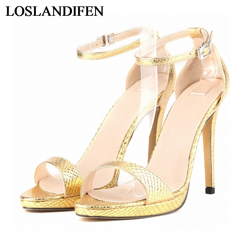 Embossed Leather Comfort Women Sandals Ladies Fashion Shoes Open Toe High Heel One Strap Sandal Plus Size 35-42 NLK-B0107