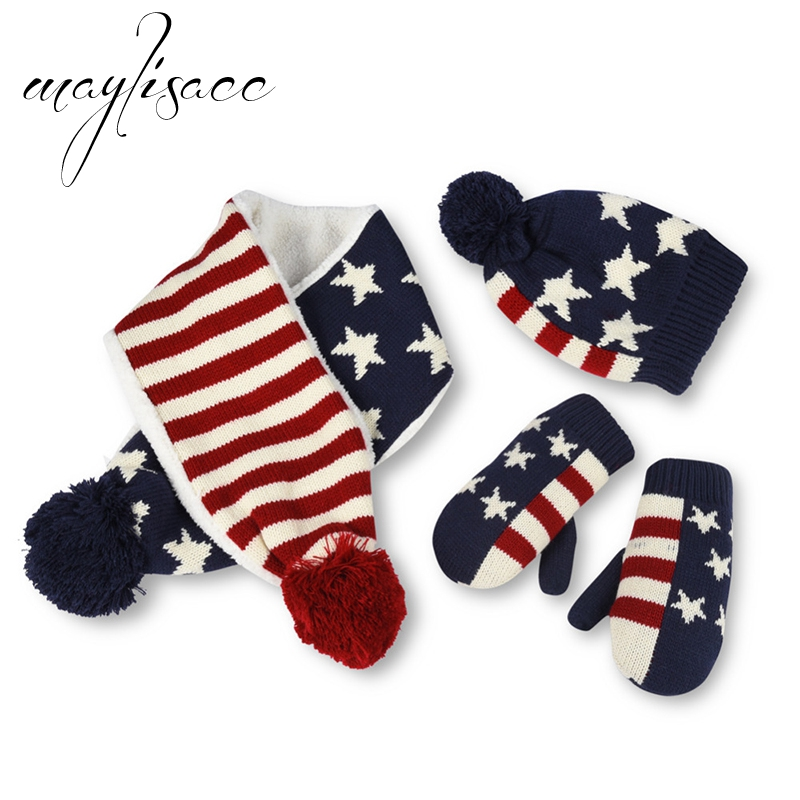 Maylisacc Star Kids Winter Warm Thickened Knitted Hat Cap Gloves With Scarves For 2 To 6 Years Old Boy Girl Cap Set