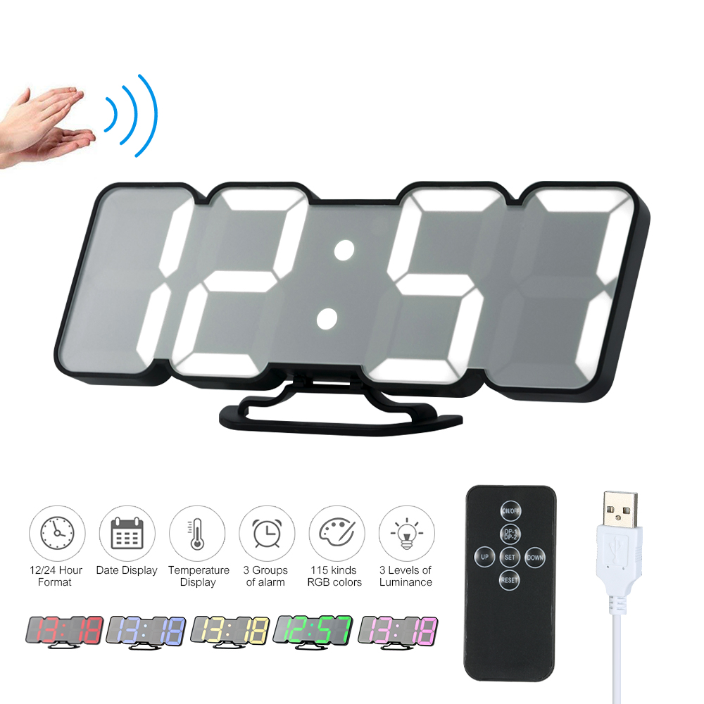 3D Wireless Wall Clock USB Remote Digital RGB LED Powered Time/Temperature/Date Wall Desktop Clock reloj despertador
