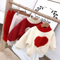 Autumn Winter Baby Girls Warm Sweatshirt Sets Children Heart Pattern Plus Velvet Top+Pants 2Pcs Suits Kids Girls Causal Set Q233