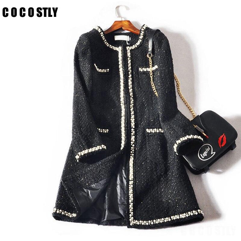 Manteau d'hiver femme mode Design de luxe piste Tweed manteaux veste manches longues bouton femmes automne hiver laine manteaux
