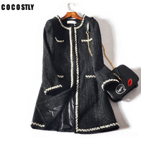 Winter Coat Woman Fashion Design Luxury Runway Tweed Coats Jacket Long sleeves button women Autumn Winter wool coats