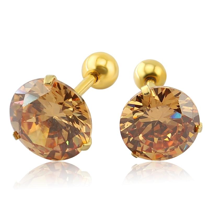 Rhinestone Crystal Stud Earrings Four Prong Set Clear CZ 16G Ear ...