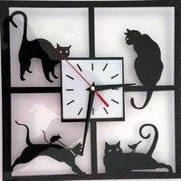 Funlife Black Cat 3D Creative Cartoon Decorative Table Simple Modern Creative Wall Clock Mirror Quartz c