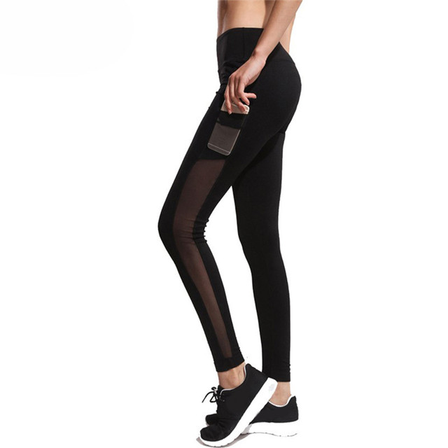 8235f7666f5a9 Pockets Yoga Pant Running Tights Women Leggings Slim Mesh Splice Sexy Hips  Ladies Legging Trousers Leggings Sportswear Panties