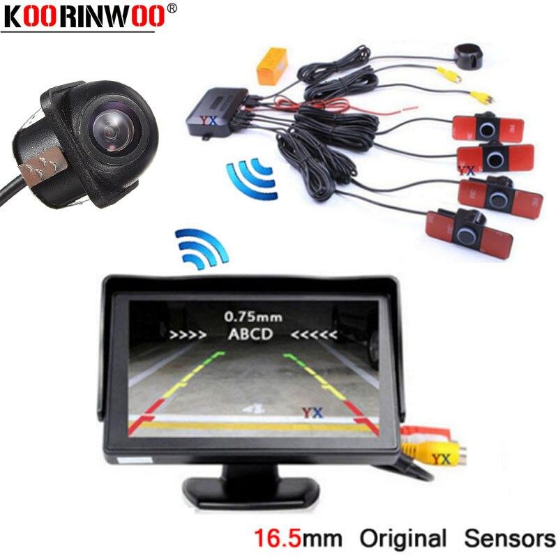 Koorinwoo Parktronic 2.4g sans fil voiture Parking 4 capteur mouvement LCD moniteur alerte Radars voiture vue arrière caméra détecteur système ensemble
