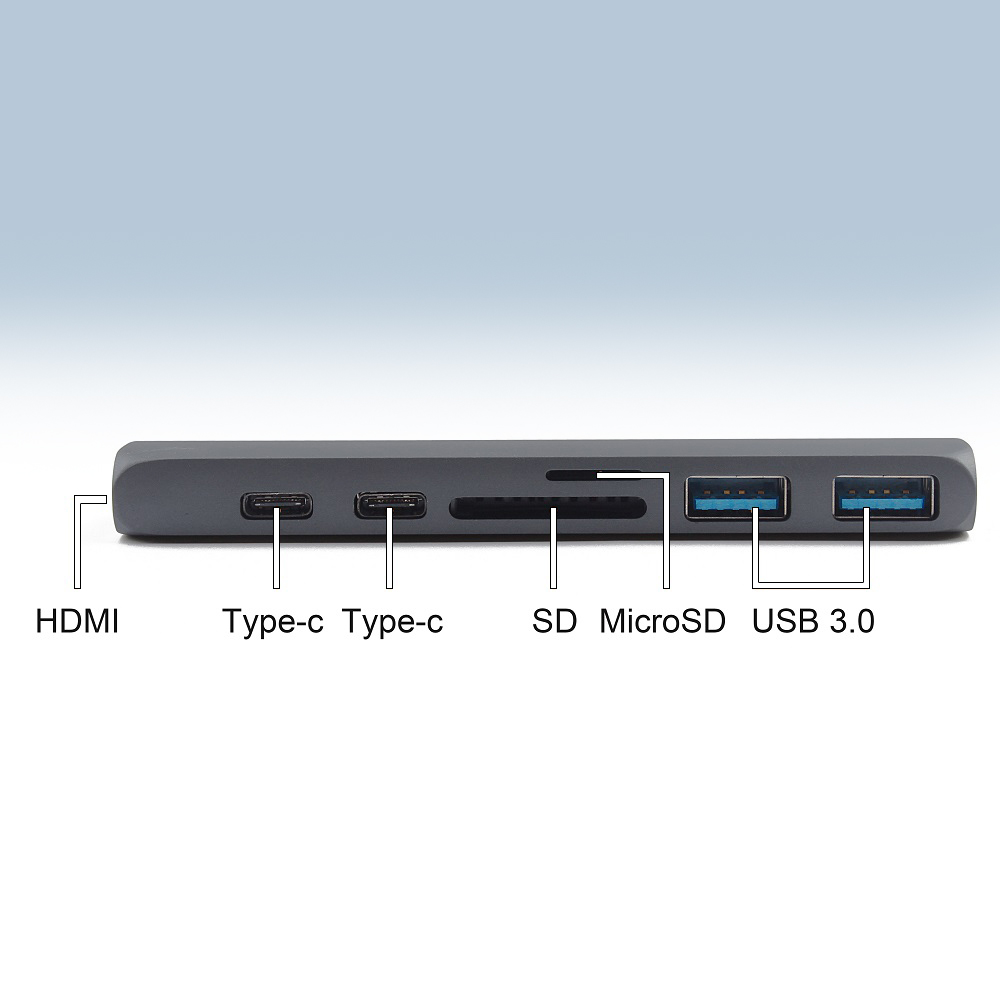Image 5 - 7 in 1 USB 3.1 Type C Hub Naar HDMI Adapter 4 K Thunderbolt 3 USB C Hub met Hub 3.0 TF SD Reader Slot PD voor MacBook pro 2018-in USB Hubs from Computer & Office