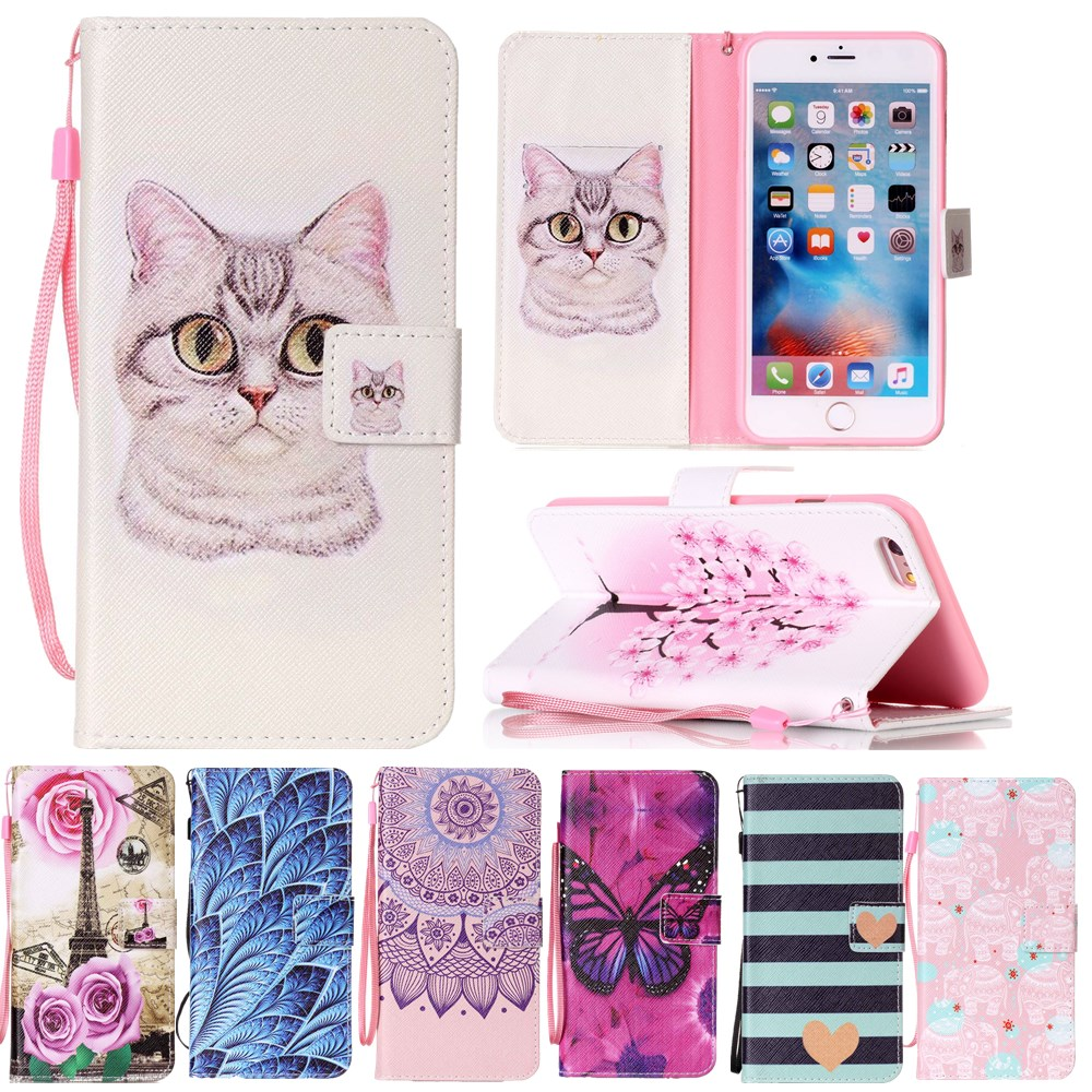 For Coque iPhone 7 Case Cartoon Cat Leather Back Cover for fundas iphone 7 Case 2017 new arrival for iPhone 7 Phone Cases