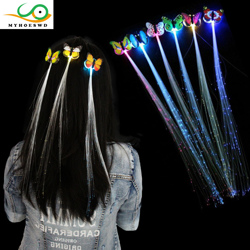 MYHOESWD 5Pcs/lot Colorful LED Light-Emitting Fiber Optic Wire Hairpin Luminous Silk Braids Styling Tool Toys Luminous butterfly