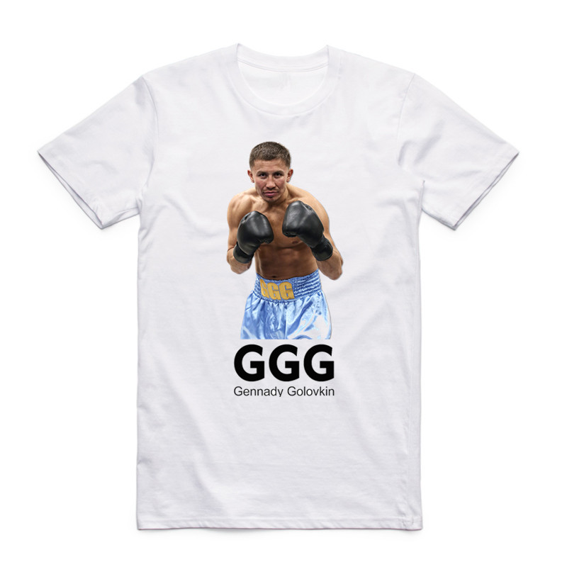 2017 Men Print Gennady Golovkin GGG Fashion White T Shirt Short Sleeves O Neck Summer Casual Fitness MMA Boxer T-shirt