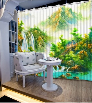 High Quality Customize size Modern photo curtains 3d beautiful scenery  curtains for living room Photo Customize size