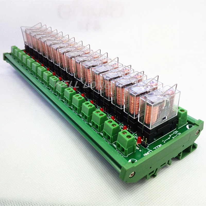 цена на DIN Rail Mount 16 SPDT 16A Power Relay Interface Module,OMRON G2R-1-E DC24V Relay.