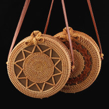 Vintage Handmade Rattan Round Straw Bags Women Summer Bag Woven Beach Cross Body Circle Bohemia Handbag Bali