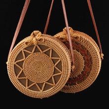купить Vintage Handmade Rattan Round Straw Bags Women Summer Rattan Bag Handmade Woven Beach Cross Body Bag Circle Bohemia Handbag Bali по цене 1304.58 рублей
