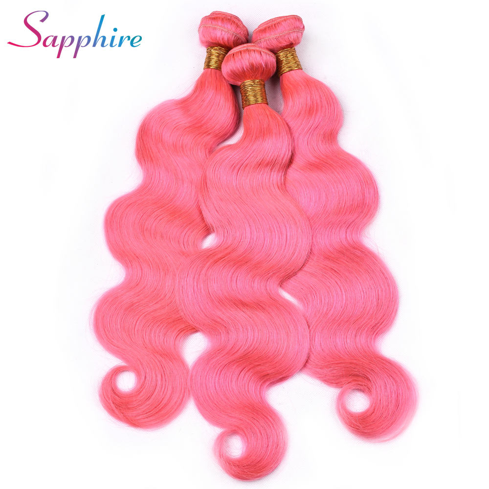 SAPPHIRE Human Hair Weave Bundles Malaysian Body Wave Hair 4 Bundles Pre-Color 100% Human Hair Weaving Remy Hair Pink Color