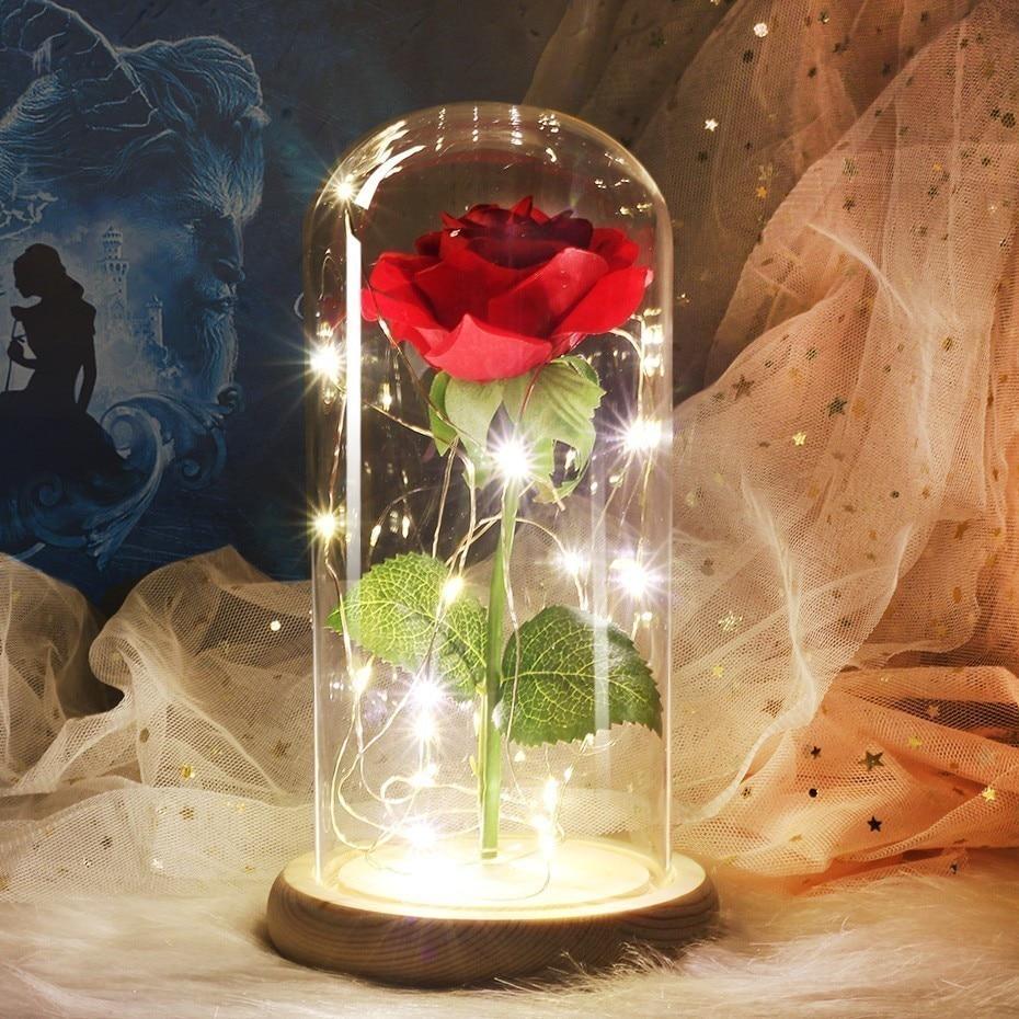 6 цветов Красота и чудовище красная роза в стеклянном куполе на деревянной основе для подарков Святого Валентина светодиодный лампы с розами Рождество - Цвет: wood base