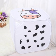 Folding Round-Square Storage Bags Cartoon Pattern Three-dimensional Storage Bag Eco-friendly Clothes Bags Toys Stocked Bags