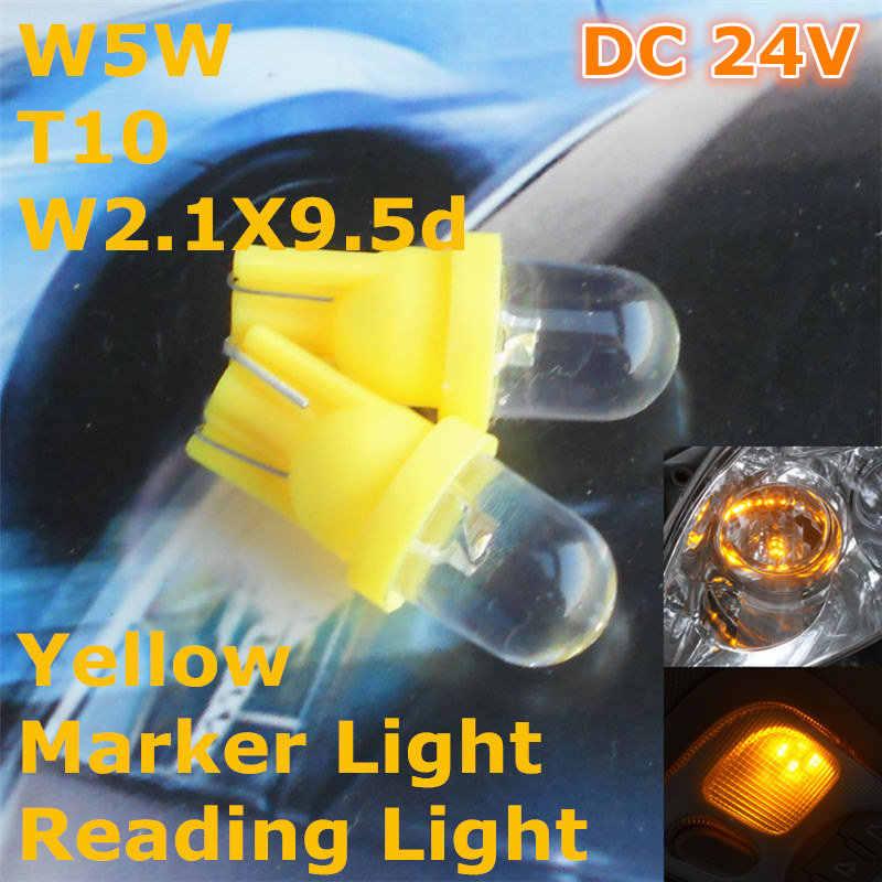 24 V LED Sarı Renk LED araba ampulü Lamba T10 (10mm Spot Lamba) w5W W2.1X9.5d Kapı Gövde Boot Lisans Okuma Işığı