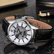 HOT OUYAWEI Mechanical Watch Men's Skeleton wristwatch Man watches Leather Relogio Masculino Luxury Fashion Casual Wrist Watch стоимость