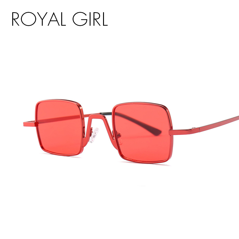 ROYAL GIRL Small Square Sunglasses Women 2018 Brand Designer Black Red Pink Frame Vintage Metal Glasses for Female UV400 SS371