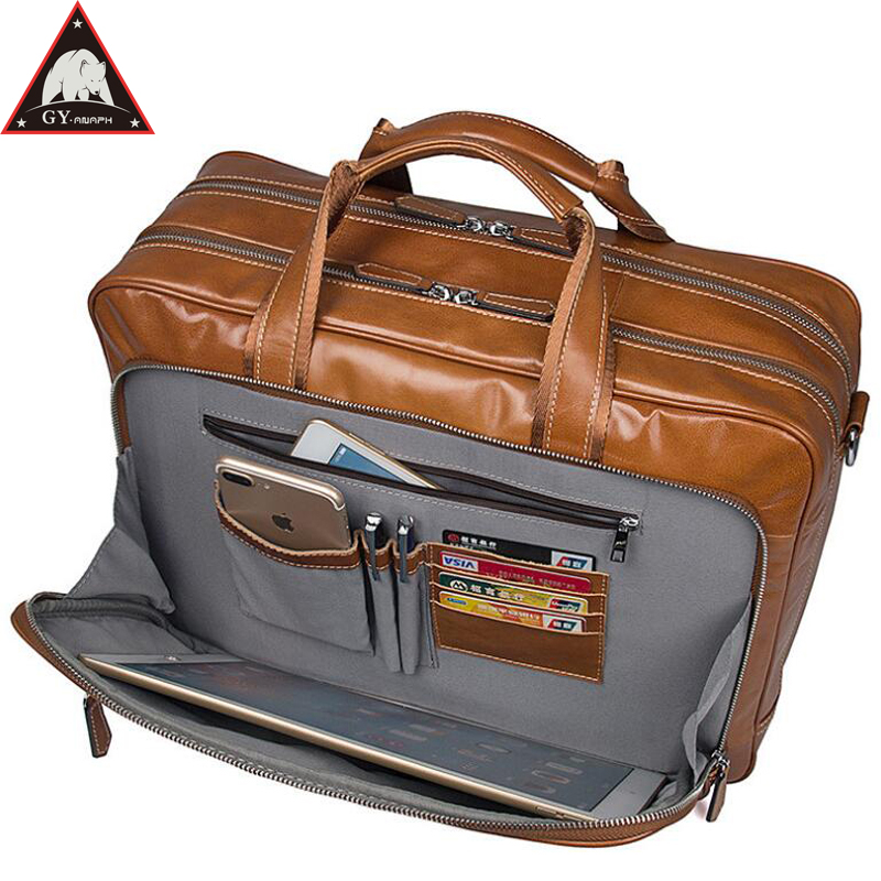 купить ANAPH Original Full Grain Leather Business Briefcase For Men 17 Inch Laptop Bag Large Capacity Double Travel Bags In Brown по цене 8852.56 рублей