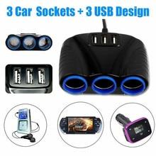 Blue Led Car Cigarette 3USB Port 3 Way 3.1A Lighter Socket Splitter Hub Power Adapter 12V-24V for IPad Smartphone DVR GPS