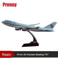 Prenoy Resin 47cm Boeing 747 Aircraft Model Air Korean Airlines Airplane Model Korea Plane Airway Airbus Korea B747 Static Model