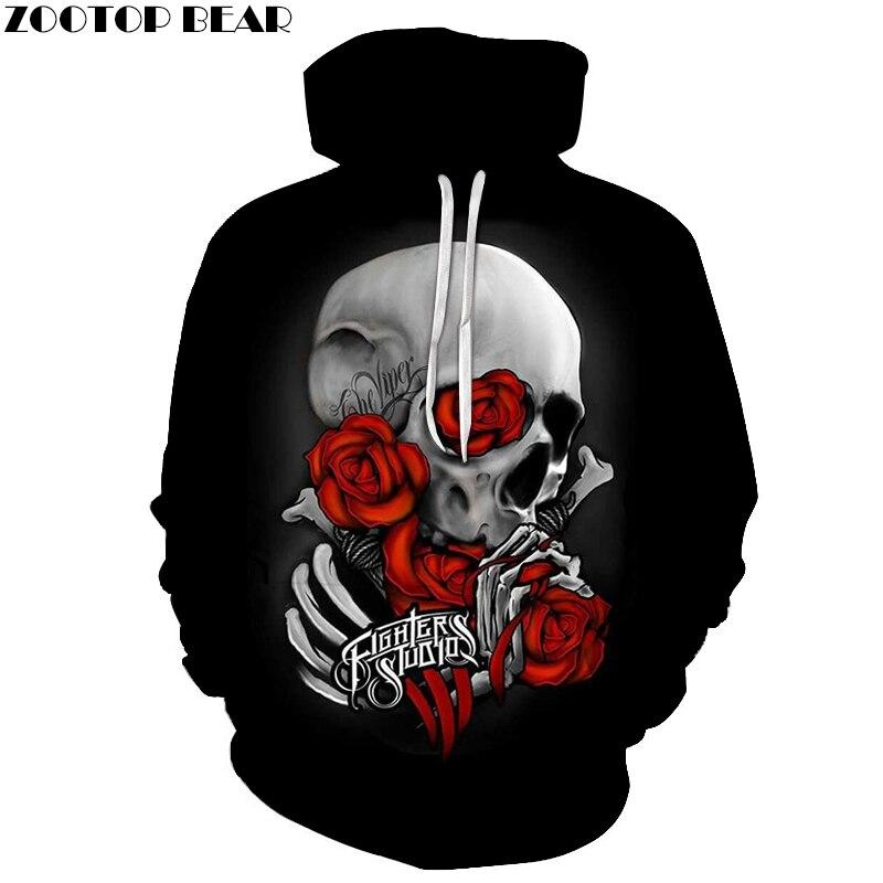 Skull wear Red Rose 3D Prints Hoody Pullover 2018 Mens Autumn Hoodies Sweatshirt Drop Ship Hoodies Cloth ZOOTOP BEAR