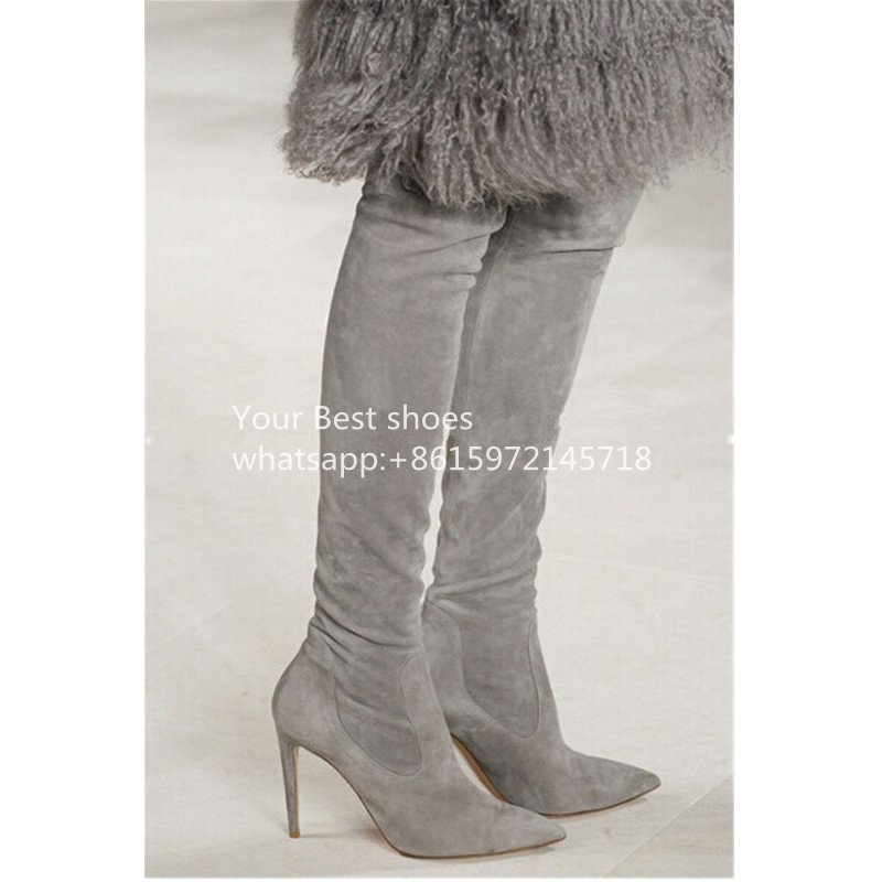 2016 fall Brand Designer Stretch Thigh High Boots Pointy Stiletto High Heels Runways Shoes Woman Autumn grey Women suede Boots beige black grey stretch suede thigh high boots stiletto high heels 2017 new fall celeb women shoes pointed toe women boots