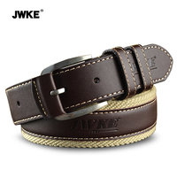 JWKE New Canvas Belt Buckle Leather Belt Men S Casual Fashion Belt Tide Of Young Students