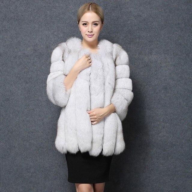 ad455746e FHILLINUO Fur Coat Winter Warm Faux Fox Fur Coats Brand Luxury Womens Fake  Fur Jacket High