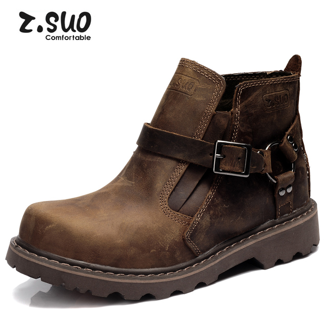 British Retro Boots Men Winter Plush Fur Genuine Leather Brown Motorcycle Boots 2017 Casual Shoes Fashion Warm Snow Boots Hot