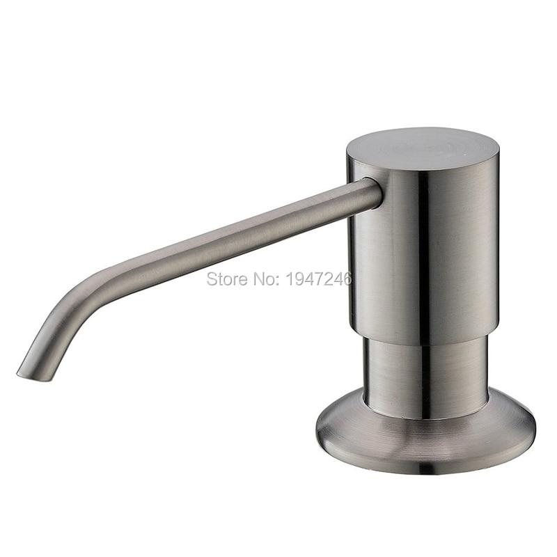 Solid Stainless Steel Brushed Nickel Built In Deck Mount Pump Countertop Kitchen Sink Soap Dispenser Set With 13 Oz Bottle
