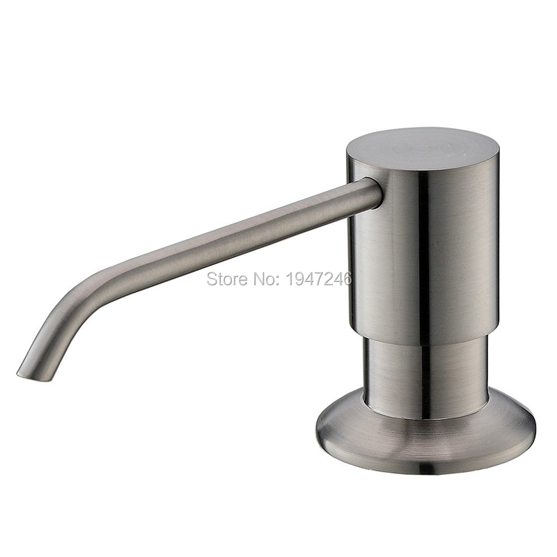 Solid Stainless Steel Brushed Nickel Built In Deck Mount Pump Countertop Kitchen Sink Soap Dispenser Set With 13 Oz Bottle