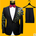 Newest S-4XL Men Suits Sequins Peacock Pattern Fashion Slim Black Blue Paillette Embroidered Male Singer Party Prom SUITS SET