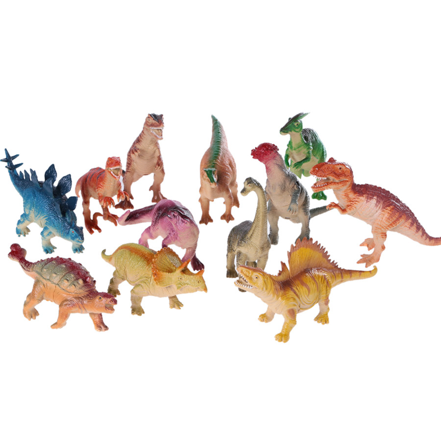 12pcs Prehistoric Rubber Simulation Animals World Dinosaurs Action Toys Model Figures Prehistoric Toys for Kids Children Gift starz appaloosa horse model pvc action figures animals world collection toys gift for kids