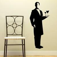 Waiter Butler Vinyl Art Wall Stickers Wall Decals Large Wall Art Murals Huge Mural Wallpaper 50