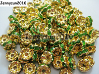 200pcs Lot 10mm Top Quality Czech Peridot Crystal Rhinestone Pave Wavy Rondelle Metal Gold Plated Spacer