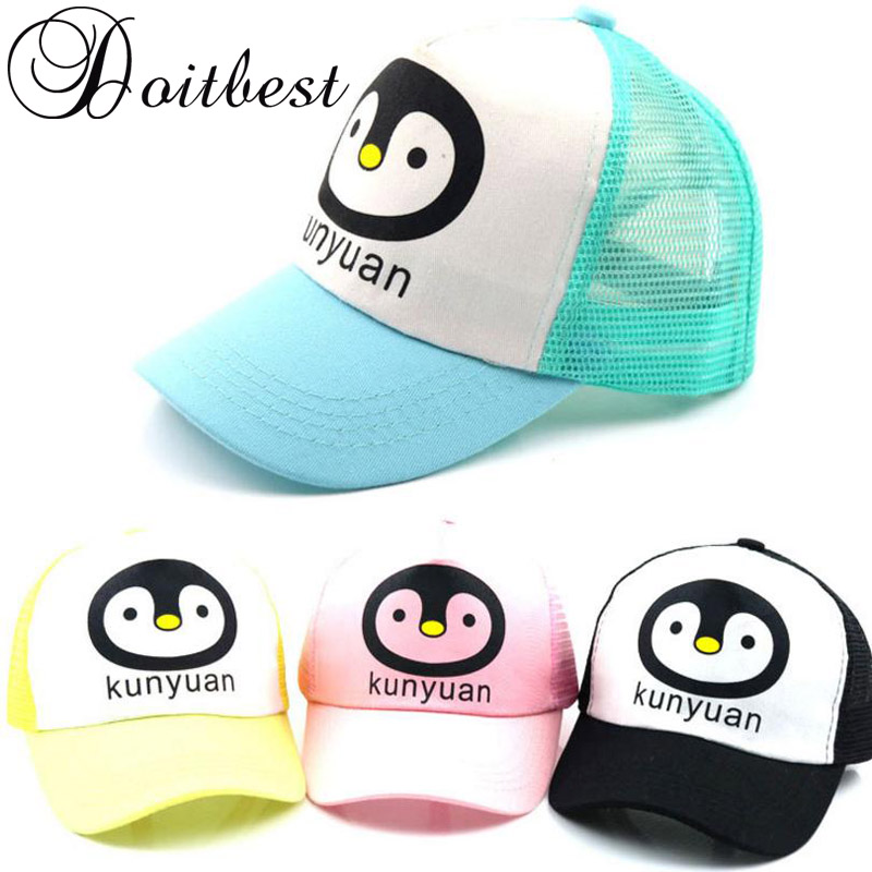 5efe1886c86 Aliexpress.com   Buy 2018 Children Mesh Child Baseball Cap Hot Summer  Cartoon penguin kids Sun Hat Boys Girls snapback Caps age for 2 6 years old  from ...