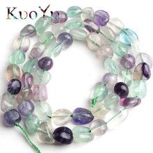 1e12ae17597c 6-8mm Natural Irregular colorida fluorita piedra suelta perlas espaciador  granos para la fabricación de la joyería DIY pulsera c.