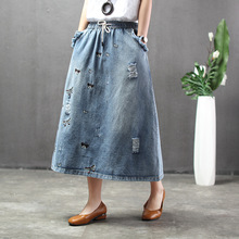 Ethnic Style Butterfly Embroidered Woman Denim Long Skirt Drawstring Elastic Waist Casual Loose Mid-calf Jeans Oversized