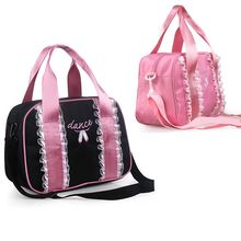 Canvas Waterproof Tote Bag Gym Yoga Ballet Pink Lace Embroidery Handbags Girls Princess Fabric Dance